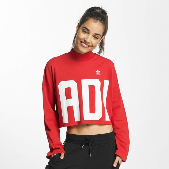 2d9d5cc3 Adidas Crop Red Sweatshirt with High Neck